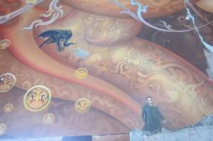 Bohaterowie na muralu we wnętrzu White Temple