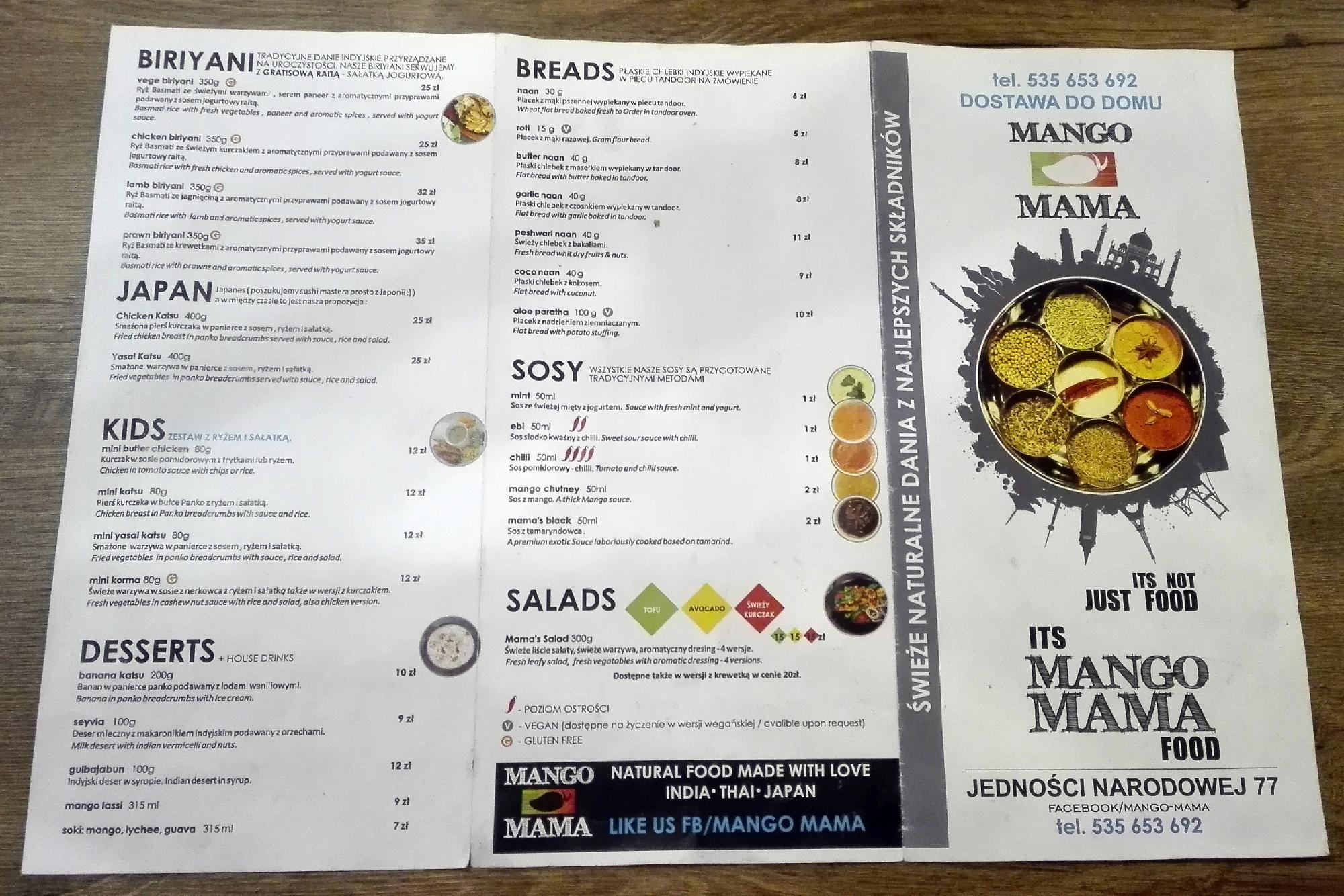 Mango Mama menu