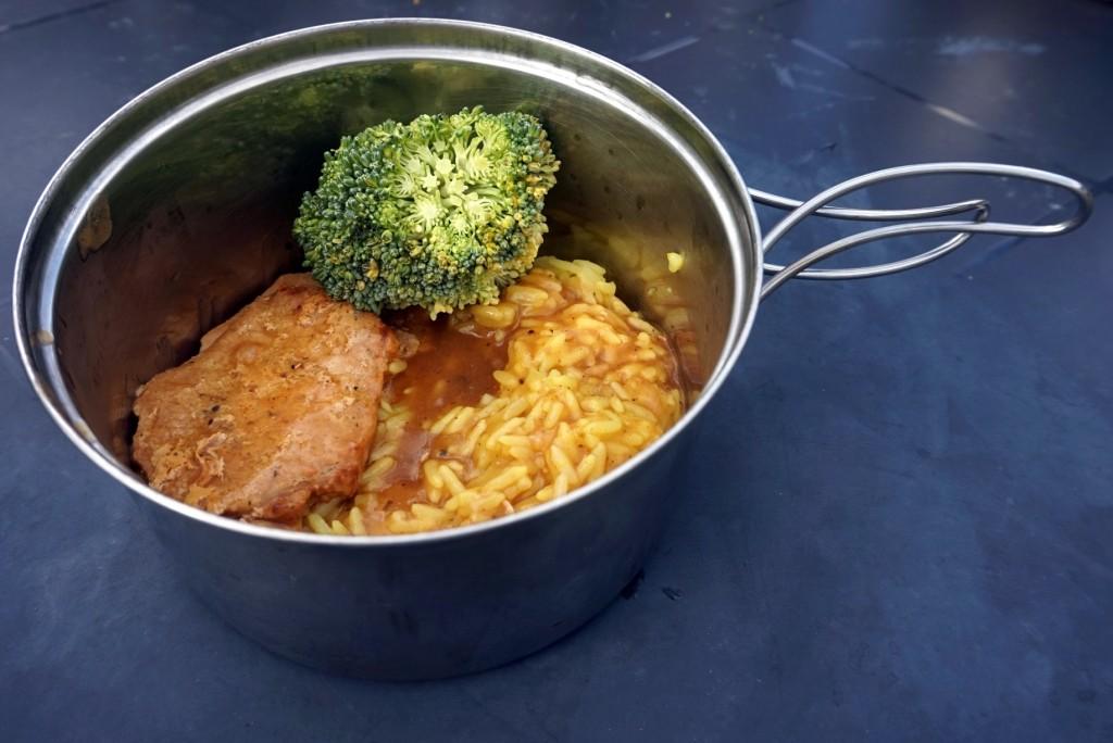 Schab z ryżem i brokułami