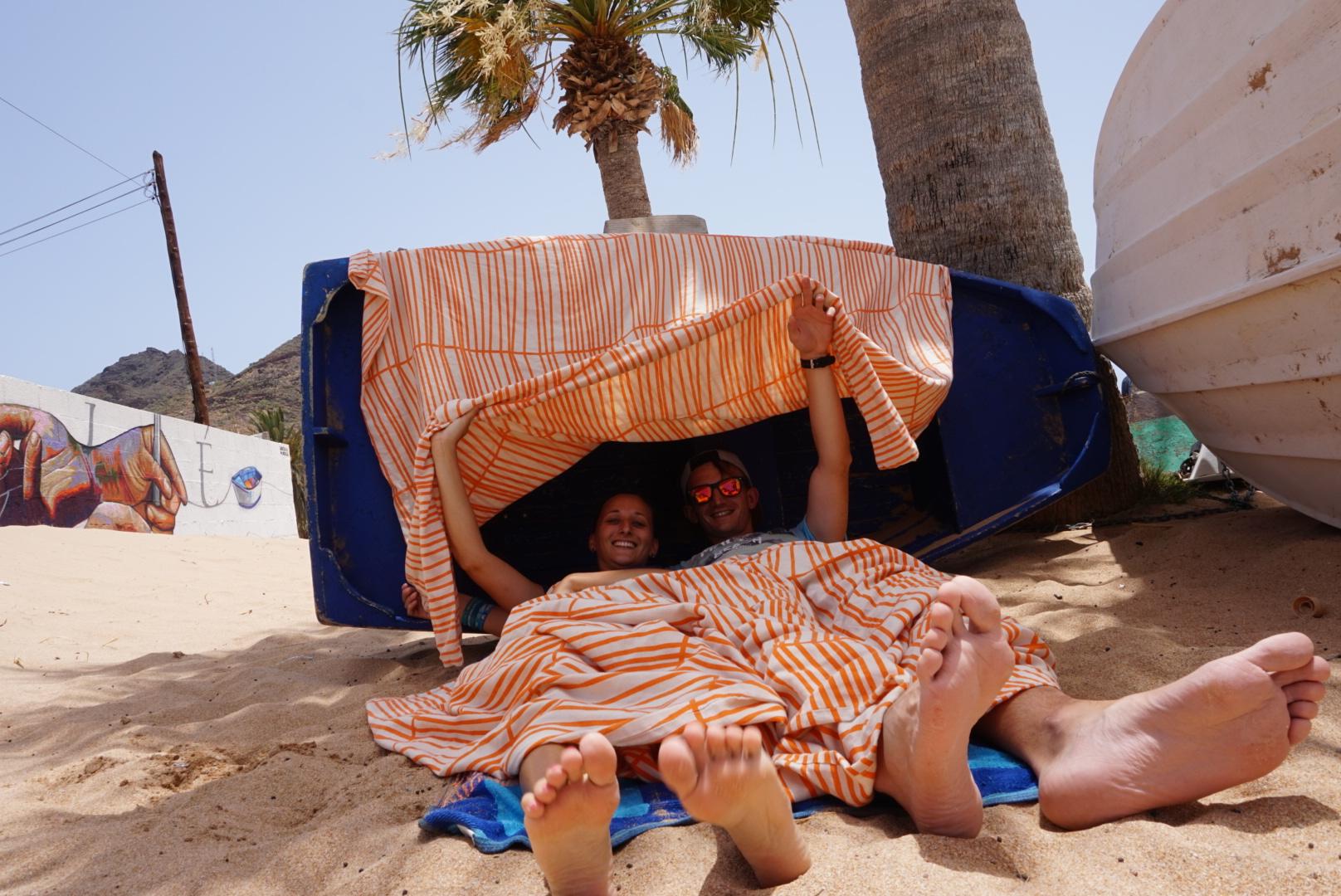 Nocleg na plaży koło Santa Cruz