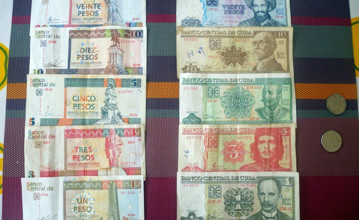 Po lewej CUC (pesos convertibles), po prawej CUP (pesos cubano)