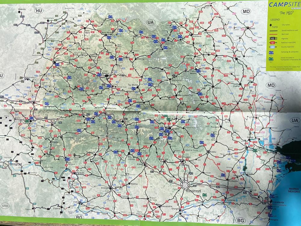 Mapa kempingów w Rumunii