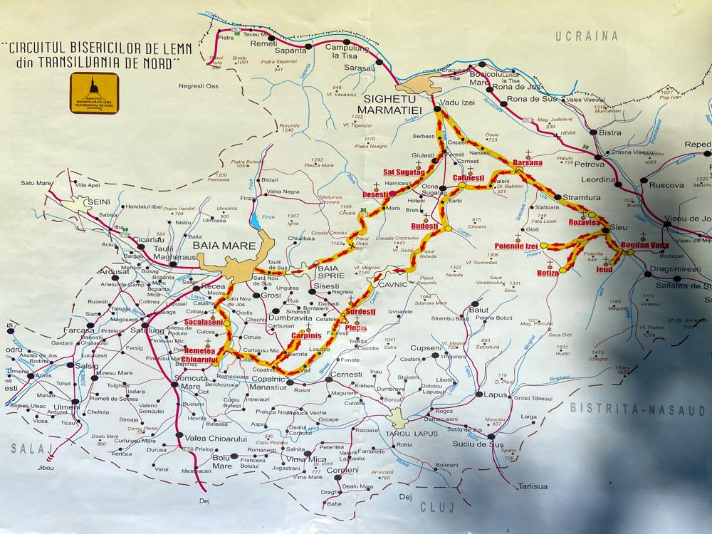 Drewniane Cerkwie Marmaroszu - mapa